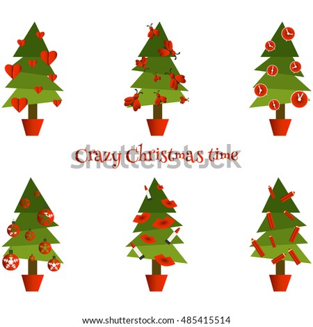 Set of funny Christmas trees. Simple illustration.