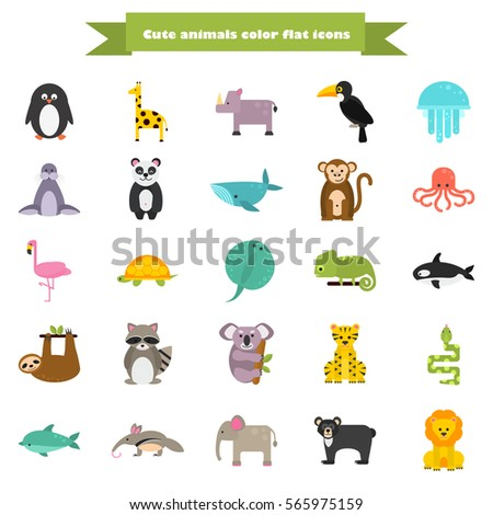 set of funny color flat animals icons - Color Animals