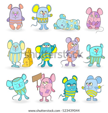Set of funny colored mouses on a white background isolated