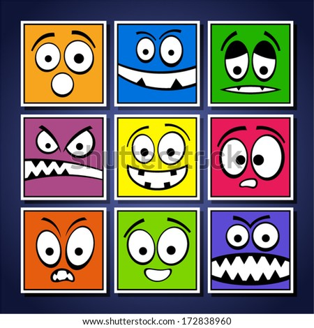 Set of funny colorful emotions.