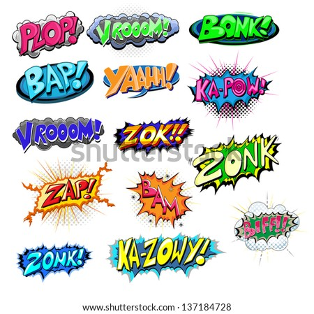 Set of Funny Comic Expression Vector Texts - stock vector