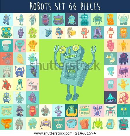 Set of funny cute cartoon robots. Robot toy vector Illustration, hand drawing - stock vector