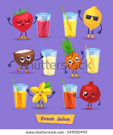 Set of funny cute fruits and fresh juice. Funny food. Vector cartoon stock illustration. Cute stylish characters. - stock vector