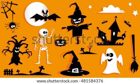 Set Funny Halloween Symbol Pumpkin Scarecrow Stock Vector ...