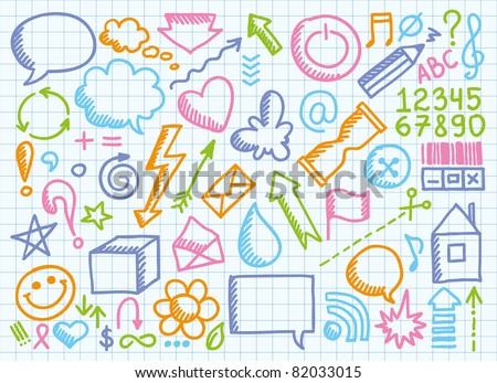 set of funny hand drawn signs on paper page - stock vector