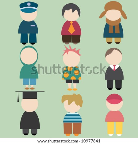 set of funny male icons - stock vector
