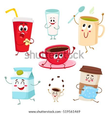 set funny milk coffee tea cup stock vector 519561469 shutterstock. Black Bedroom Furniture Sets. Home Design Ideas