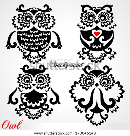 Set of funny Owls on white background. Vector illustration.