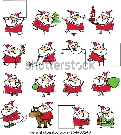 Set of Funny Santa Claus  , christmas background  - stock vector