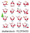 Set of 16 funny Santas. Vector illustration - stock vector