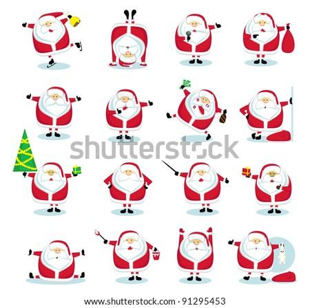 Set of 16 funny Santas. Vector illustration - stock vector
