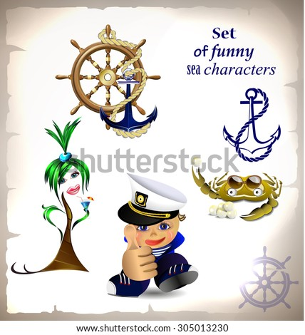 Set of funny sea characters  - stock vector
