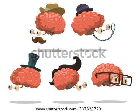 Set of Funny smart brains in hats and glasses, vector - stock vector