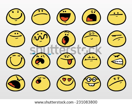 Set of funny smiley faces with different expressions