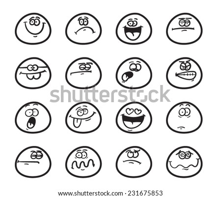 Set Funny Smiley Faces Different Expressions Stock Vector 231675853