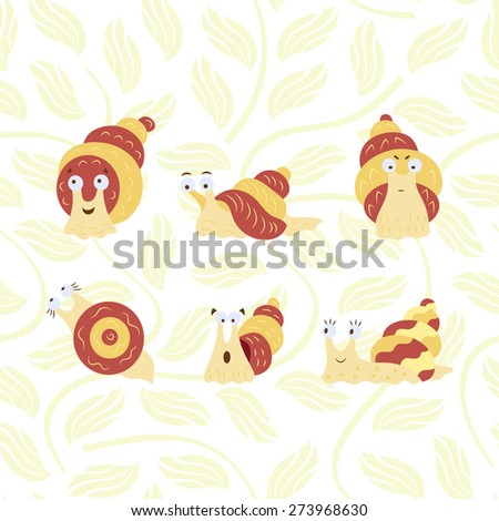 Set of funny Snails - stock vector