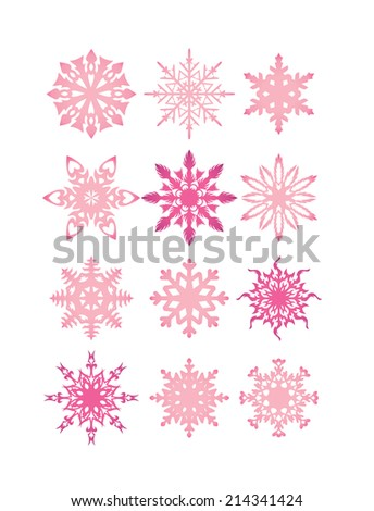 set of funny snowflakes for Christmas pink design - stock vector