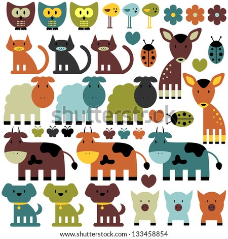 Set of funny various colorful animals - stock vector