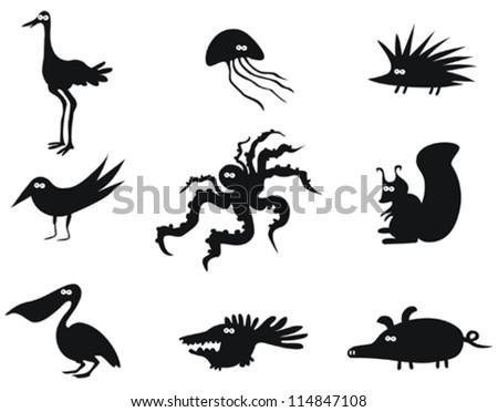 Set of Funny Vector Animals - stock vector
