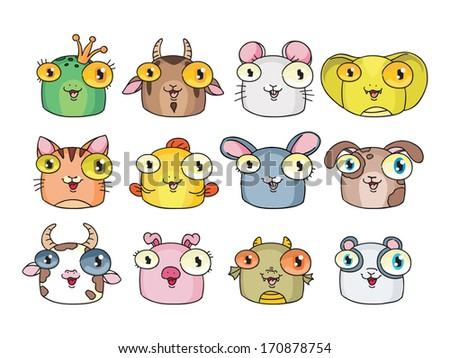 set of funny vector icons. animals: frog, goat, mouse, snake, cat, fish, hare, dog, cow, pig, dragon, panda.