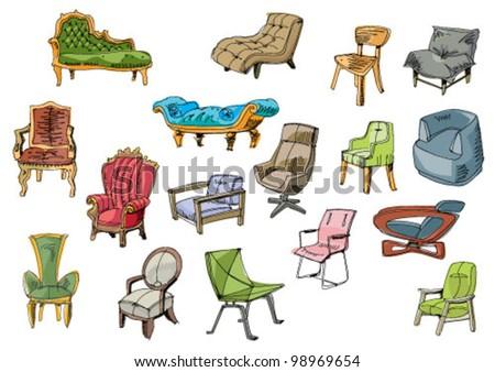 set of furniture - cartoon - stock vector