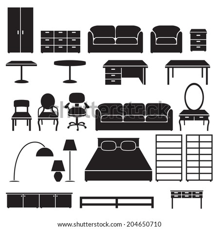 Set of furniture icons. - stock vector