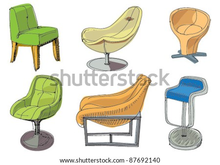 set of furniture - interior element - handmade cartoon pictures - stock vector