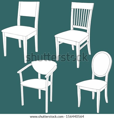 Set of furniture on the chalk board. Vector illustration - stock vector