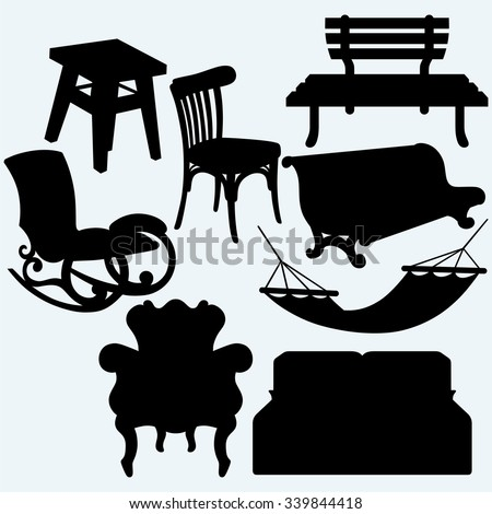 Set of furniture: rocking chair, stool, sofa, bench and hammock. Isolated on blue background. Vector silhouettes