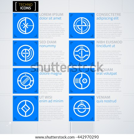 Set of futuristic icons. Futuristic techno business style. Useful for annual reports, presentations and advertising. - stock vector