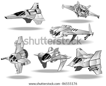 set of futuristic interceptors - stock vector