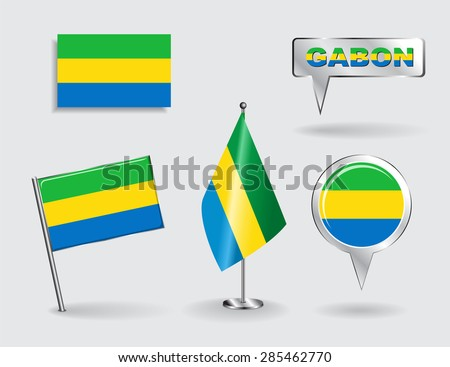 Set of Gabonese pin, icon and map pointer flags. Vector illustration. - stock vector