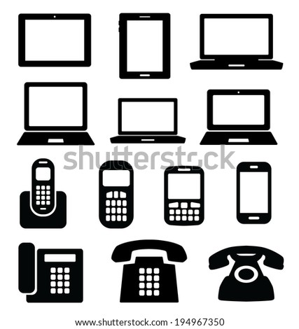 Set of gadget icons. Telephone, mobile phone, tablet, laptop. Vector illustration. - stock vector
