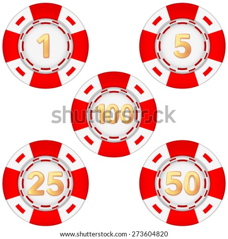 Set of gambling chips rated. Vector Illustration isolated on white background. - stock vector