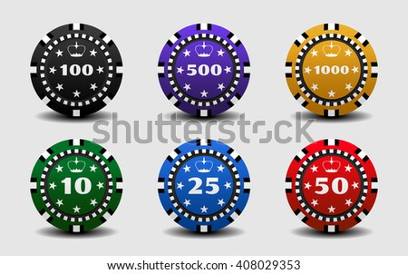 Set of gambling colorful casino chips on a white background.