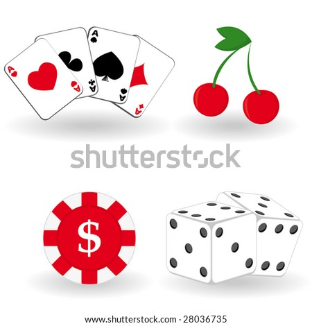 Set of gambling icons. Vector illustration.