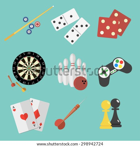 Set of game and sport icons in flat style design. Joystick, pair of aces, billiard, darts, dice, bowling, chess, domino pieces. Vector illustration.