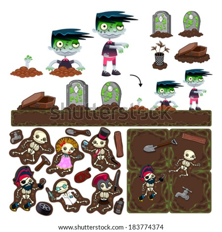 Set of game elements with zombie character, platforms and objects - stock vector