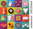 Set of game icons in flat design with long shadows - stock vector