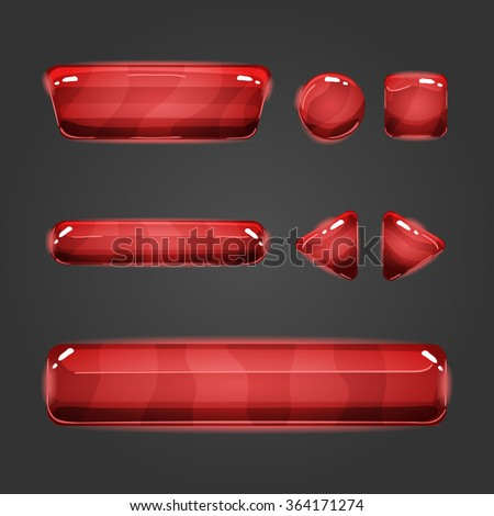 Set of game interface red  button. Button for web or game design. - stock vector