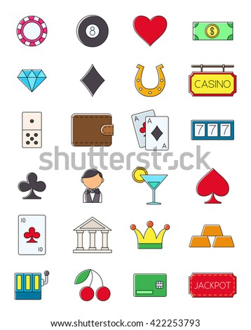 Set of 24 game of chance vector icons