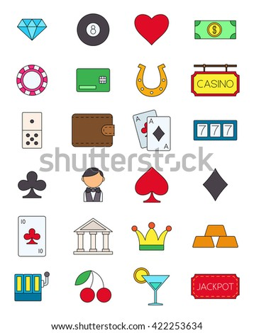 Set of 24 games of chance variegated vector icons
