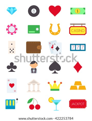 Set of 24 games of chance vector icons
