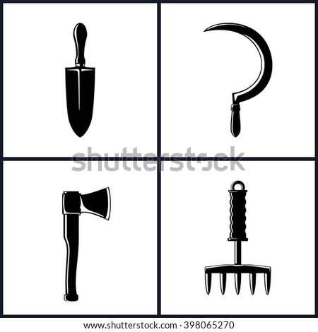 Set of Garden and Landscaping Tools Icons , Icon Trowel , Icon Sickle , Icon Axe , Icon Hand Rake , Garden Equipment , Agricultural Tool  ,  Black and White Vector Illustration - stock vector