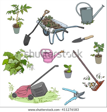 Set of garden tools and equipment, color sketch style. Rake, lawnmower, secateurs, wheelbarrow, water cans, potted plants. Vector illustration.