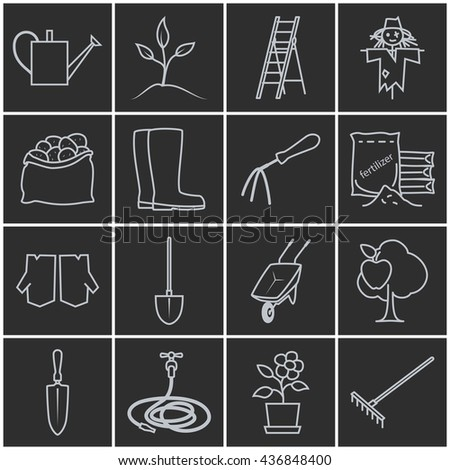 Seamless Pattern Gardening Equipment Line Icons Stock Illustration