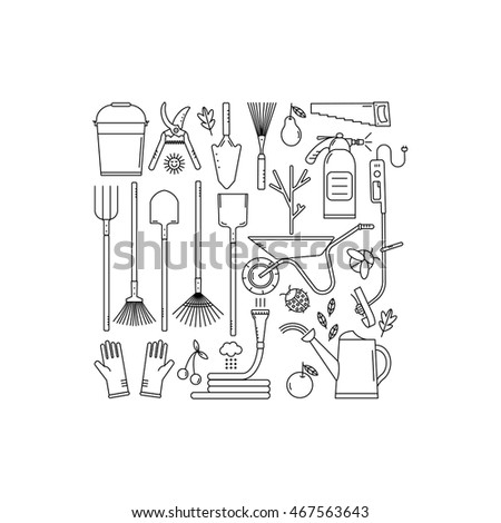 Set Garden Tools On White Background Stock Vector 467563643
