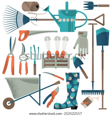 Set of garden tools. Vector illustration