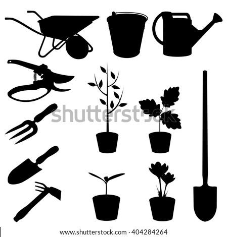 Vector illustrations silhouette set window pot stock for Gardening tools vector