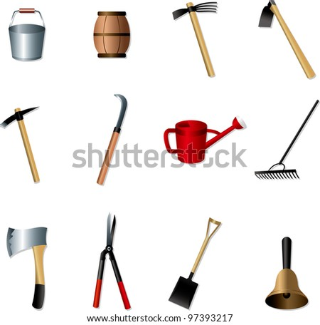 set of Gardening tools - stock vector